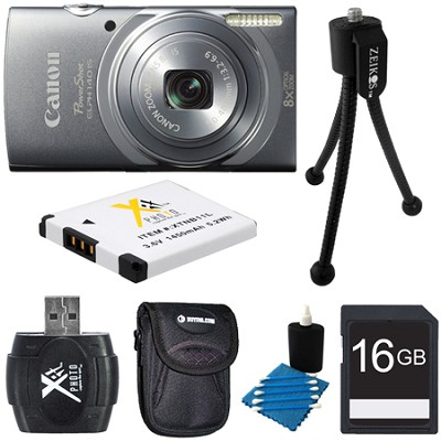 PowerShot ELPH 140 IS 16MP 8x Opt Zoom Digital Camera Grey Kit