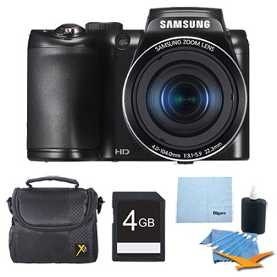 Samsung WB100 16MP 26x Optical Zoom Black Digital Camera Deluxe Bundle