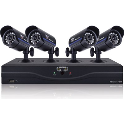 4 Ch 960H DVR w/ HDMI, 500GB HDD and 4 x 480 TVL Cameras (30ft NV) - Refurbished