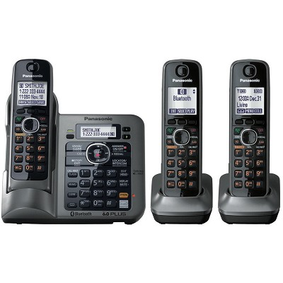KX-TG7643M Dect 6.0 Link-to-Cell Bluetooth Cordless Phone with 3-Handsets