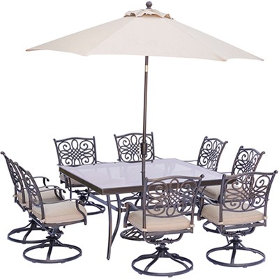 Traditions 9-Piece Square Dining Set in Tan- TRADDN9PCSWSQG-SU