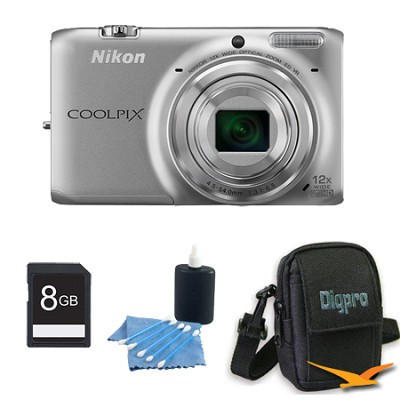 COOLPIX S6500 16 MP Digital Camera with 12x Zoom 8 GB Bundle (Silver)