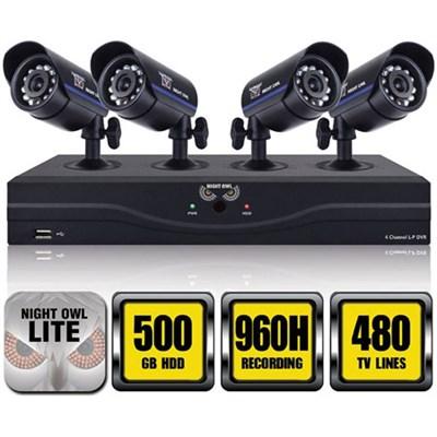 4 Ch 960H DVR w/ HDMI, 500GB HDD and 4 x 480 TVL Cameras (30ft NV) - Refurbished