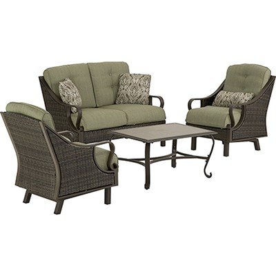 Ventura 4pc Seating Set: Sofa 2 glide chairs ceramic tile coffee table
