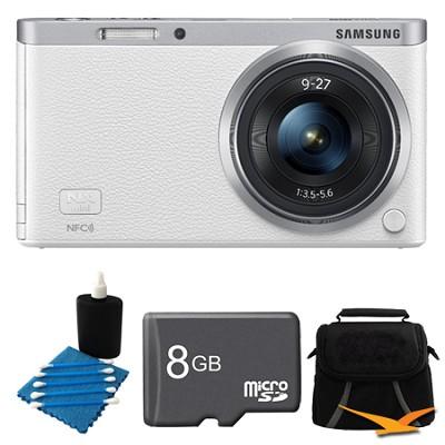 NX Mini Mirrorless Digital Camera with 9-27mm Lens and Flash White Bundle
