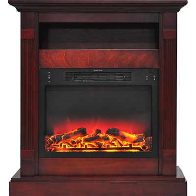 33.9 x10.4 x37  Sienna Fireplace Mantel with Logs and Grate Insert