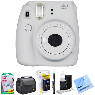 Instax Mini 9 Instant Camera White with AA Batteries & Charger Bundle