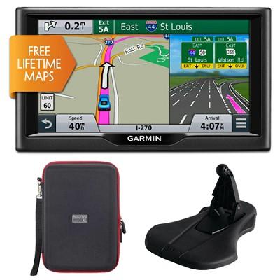 nuvi 68LM 6` Essential Series 2015 GPS w/ Lifetime Maps Mount & Case Bundle