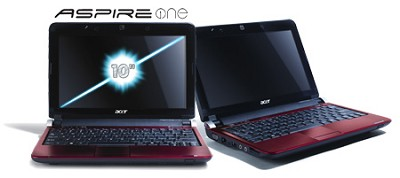 Aspire one 10.1` Netbook PC - Ruby Red (AOD250-1383)