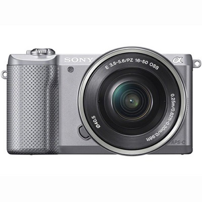 ILCE-5000L/S a5000 20.1 MP Compact Interchangeable Lens DigiCam-Silver OPEN BOX