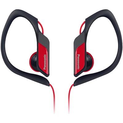 Water-Resistant Sport Clip Adjustable Earbud Headphones, Red