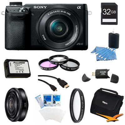 Alpha NEX-6 Digital Camera 16-50mm Lens (Black), 32GB SEL 20mm f 2.8 Lens Bundle