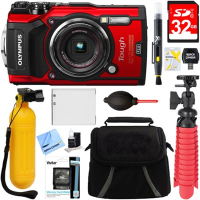 TG-5 12MP 4x Optical Zoom Digital Camera (Red) + 32GB Deluxe Accessory Bundle