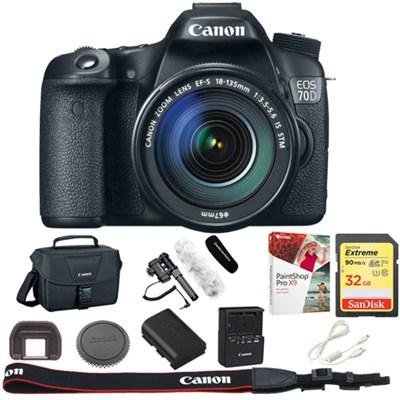 EOS 70D CMOS DSLR Camera + EF-S 18-135mm IS STM Lens + 32GB Reporter Kit