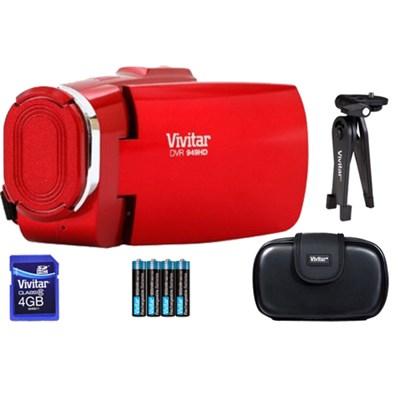Full HD Digital Camcorder DVR949-Red w/ Gadget Bag, Tripod, 8GB SD Card Kit