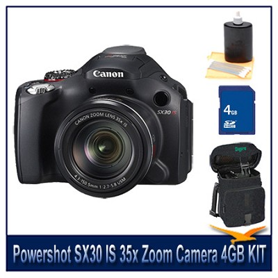 Powershot SX30 IS 35x Zoom Camera 4GB Bundle w/ Case and Cleaning Kit