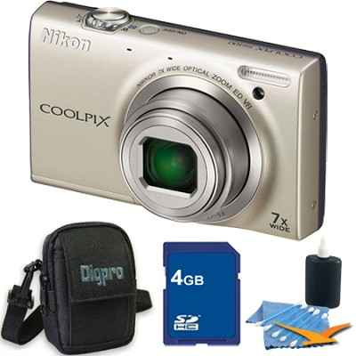 COOLPIX S6100 16MP Silver Digital Camera 4GB Bundle