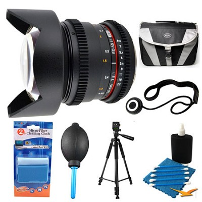 14mm T3.1 Aspherical Wide Angle Cine Lens and Case Bundle for Nikon Mount