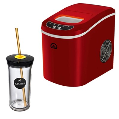 Compact Ice Maker (Red) w/ Keurig Iced Beverage Tumbler