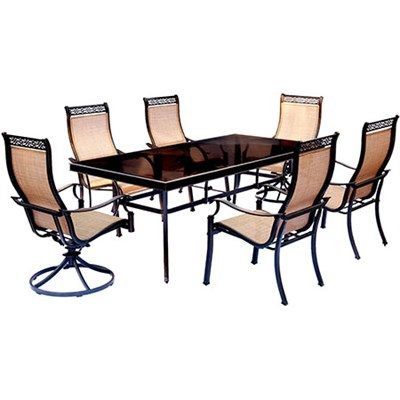 Monaco 7PC Dining Set:4 Sling Chrs2 Swvl Chrs 42x84 Glass Tbl