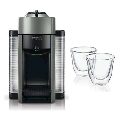 Grey Vertuoline Evolu GCC1 Espresso Maker/Coffee Maker and 2 Glasses Bundle