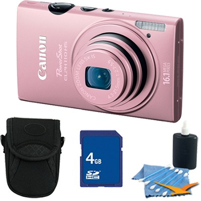 PowerShot ELPH 110 HS 16.1MP Pink Digital Camera 5x Zoom HD Video 4 GB Bundle