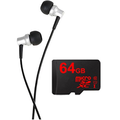 RE-400 In-Ear Headphones w/64GB MicroSDXC High-Speed Memory Card Bundle