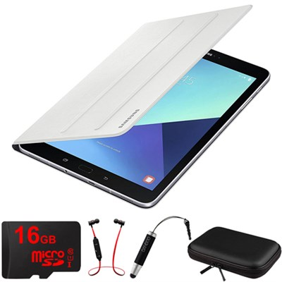 Galaxy Tab S3 9.7` Tablet Book Cover White with 16GB Memory Card Bundle