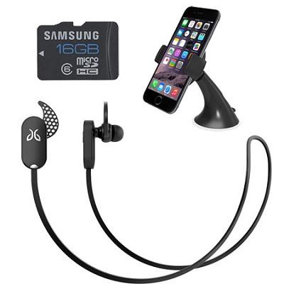 Freedom Sprint Bluetooth Headphones (Midnight Black) Mount & Memory Bundle