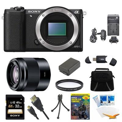 a5100 Mirrorless Camera 32GB 50mm f/1.8 Mid-Range Prime Lens Black Bundle