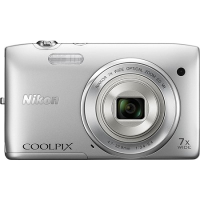 COOLPIX S3500 20.1MP Digital Camera 2.7` LCD 720p HD Video (Silver) Refurbished