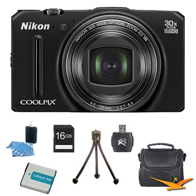 COOLPIX S9700 16MP HD 1080p 30x Opt Zoom Digital Camera Black Kit Refurbished