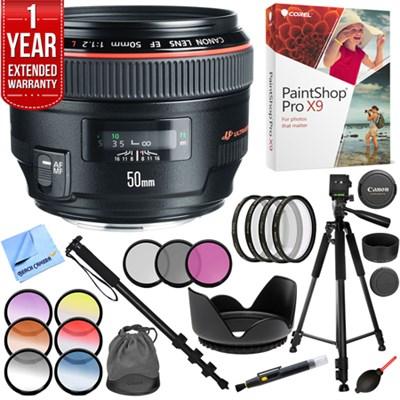 EF 50mm f / 1.2L USM Lens with Case and Hood with 72mm Filter Sets Kit
