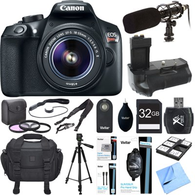 EOS Rebel T6 Digital SLR Camera with EF-S 18-55mm IS II Lens Kit Deluxe Bundle