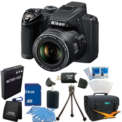 Coolpix P500 12MP Black Digital Camera 16GB Bundle