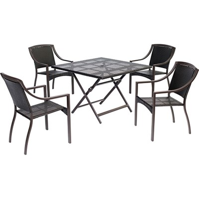 Orleans5pc Dining: 4 Aluminum Sq Dining Chairs 1 Square Woven Table