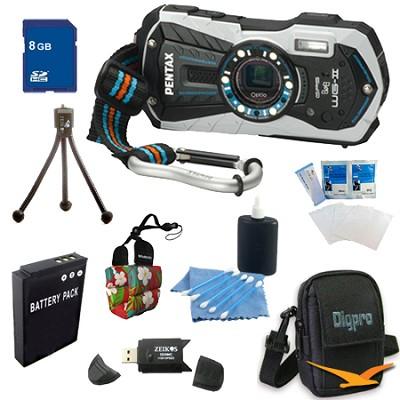 Optio WG-2 Waterproof Digital Camera - White 8 GB Bundle