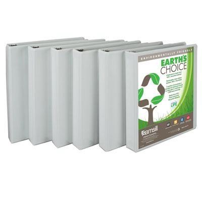 Earth's Choice Biobased Presentation Binder, 1` 3 Ring Binder 6-Pack (White)