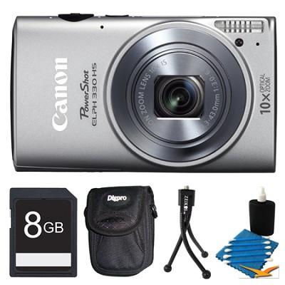 Powershot ELPH 330 HS Silver Digital Camera 8GB Bundle