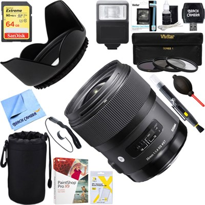 Art Wide Angle Lens 35 mm F/1.4 DG DG HSM for Sony + 64GB Ultimate Kit