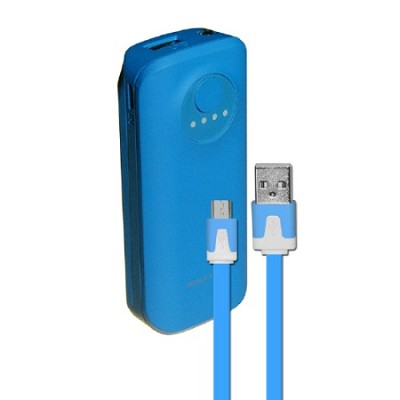 5200mAh Neon Power Battery Bank with USB Charging Cable in Blue