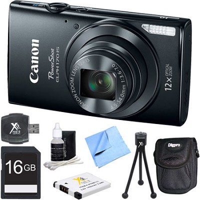 PowerShot ELPH 170 IS 20MP 12x Opt Zoom Digital Camera - Black 16 GB Bundle