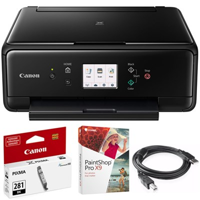 PIXMA TS6120 Wireless All-in-One Compact Printer Black + Paint Shop Bundle
