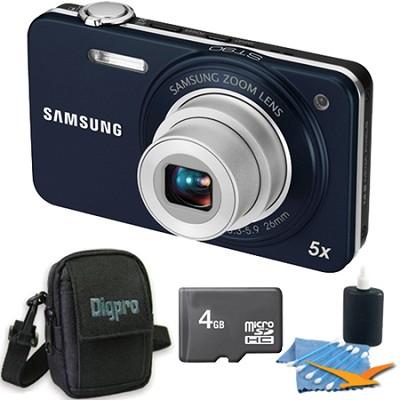 ST90 Compact 14.2 MP Indigo Blue Digital Camera 4 GB Bundle