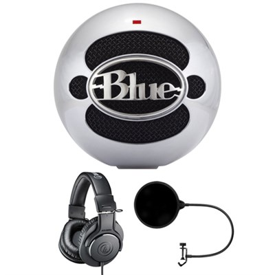 Snowball USB Microphone Aluminum w/ Headphone Bundle