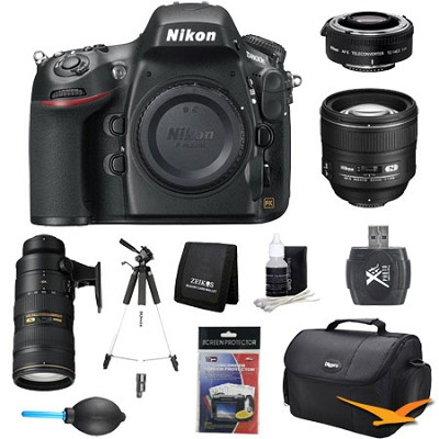 D800 36.3 MP CMOS FX-Format DSLR Camera 85mm, 70-200mm, & Teleconverter Lens Kit
