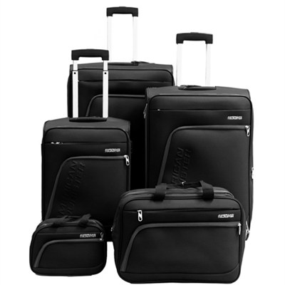 Glider 5Pc Spinner Luggage Set 28`, 24`, 20`, Boarding & Toiletry Bag - Black
