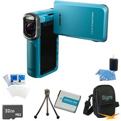 HDR-GW77V/L HD 20.4 MP Waterproof, Shockproof, Dustproof Camcorder (Blue) Bundle