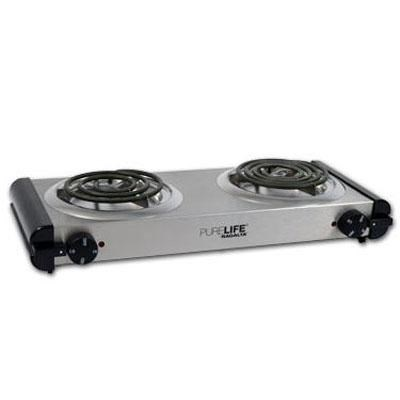 Pure Life Portable Electric Double Burner with Power Indicating Light - RCB-20
