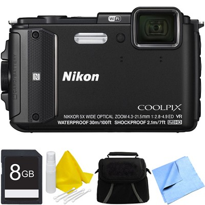 COOLPIX AW130 Waterproof Shockproof Freezeproof Digital Camera 8GB Bundle Black
